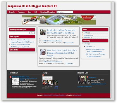 Responsive HTML5 V.6 Blogger Templates - Download Free