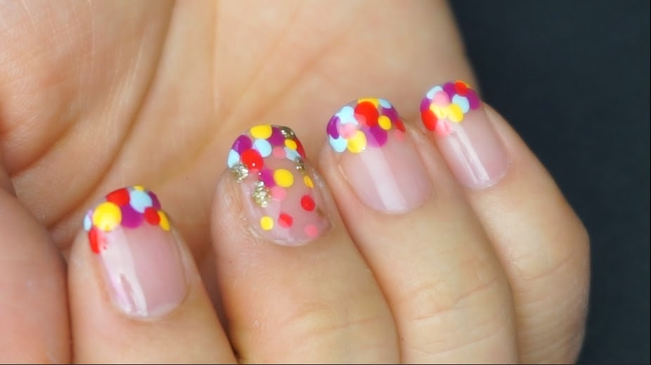 Fun colorful dot nails