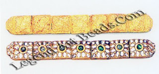 Kundan-set white sapphires with embossed sheet gold work on the reverse. Individual units are strung together to render flexibility to the ornament.