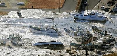 Whirlpool after Tsunami hits Japan 8.9 magnitude earthquake