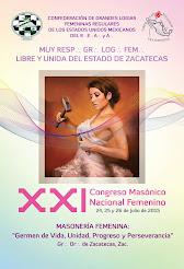 "XXI Congreso Masónico Nacional Femenino ""Zacatecas 2015"""