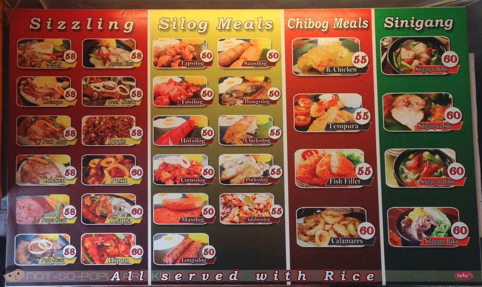 Prices of Meals in Toto's Eatery - Earnshaw Branch
