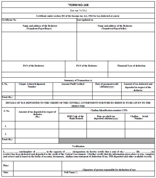 new tds form 16b return form for tds deduction u s 194 ia w e f saibex