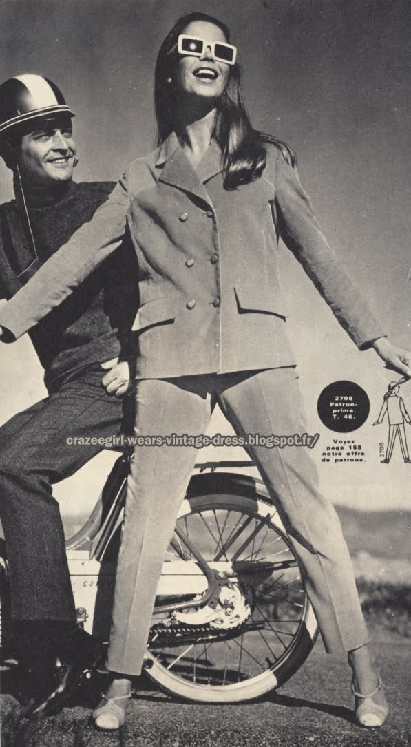 Pant suit - peacoat pea coat jacket 1967 mopeds, motorbikes, motorcycles, scooters 60s 1960 mod