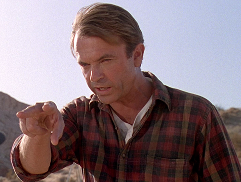 Alan Grant (Sam Neill) en Jurassic Park - Cine de Escritor