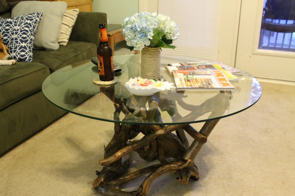 A bubbly life diy driftwood table for Coffee tables you can put photos in