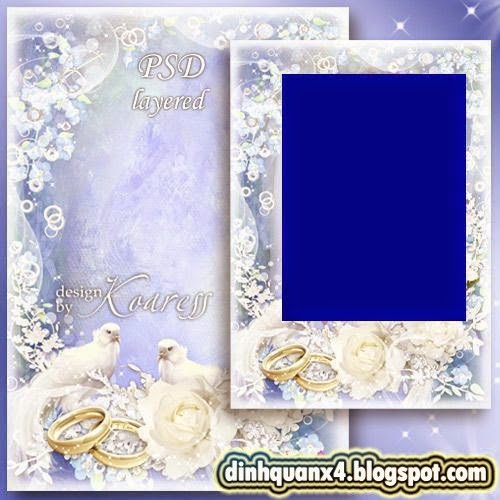 Wedding photo frame with doves and roses - White wedding tender veils