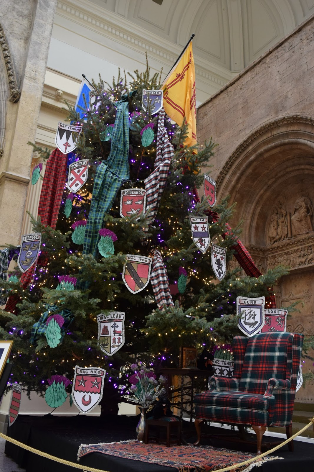 A Tribute To The Scottish Clans Decked With Shields And Clan Tartans The 20 Foot Conifer Shows Scottish Pride In Its Truest Form