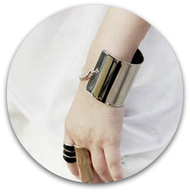 Wide silver bracelet Persunmall