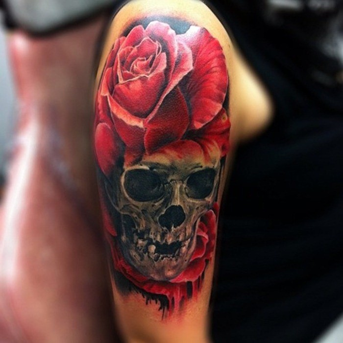 Vivid colors skull with roses tattoo