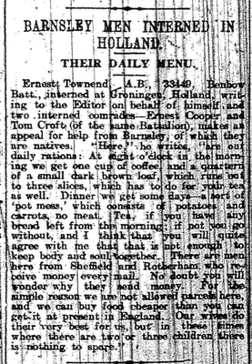 Newspaper cutting from the Barnsley Chronicle