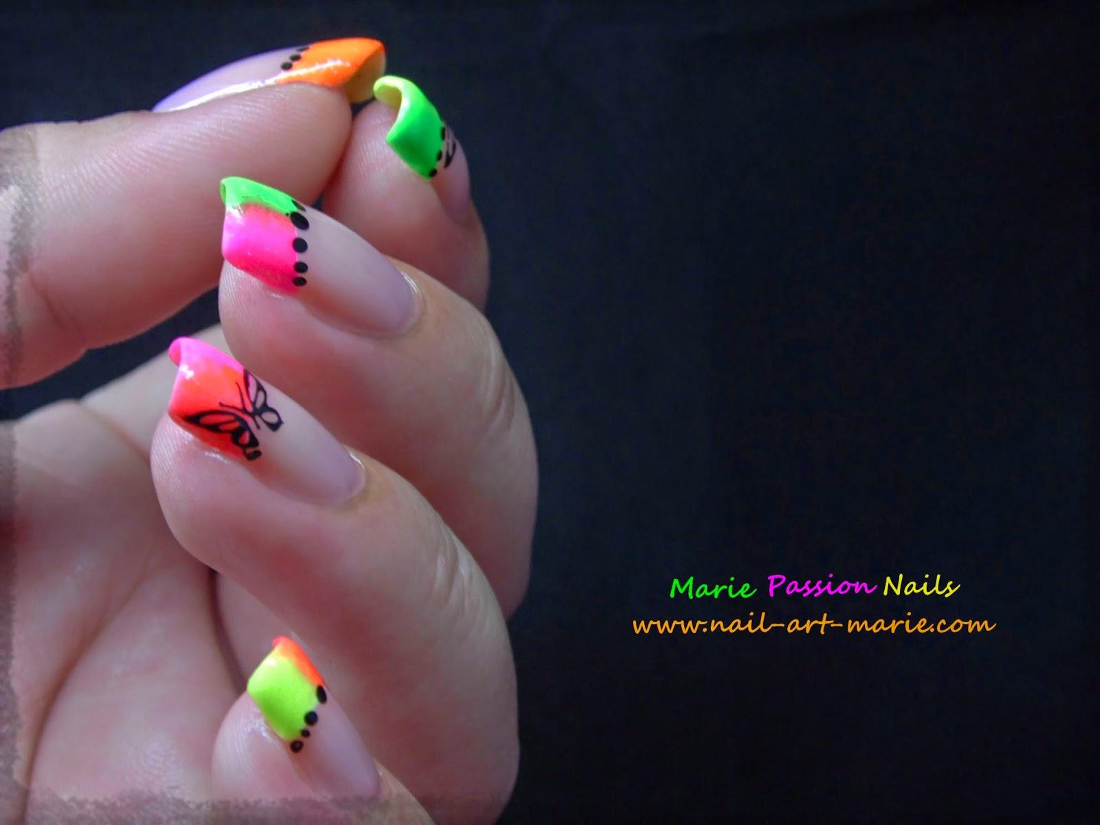 Nail Art french en dégradé de fluos6