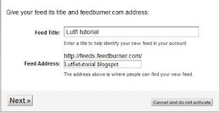 alamat dan title feedburner