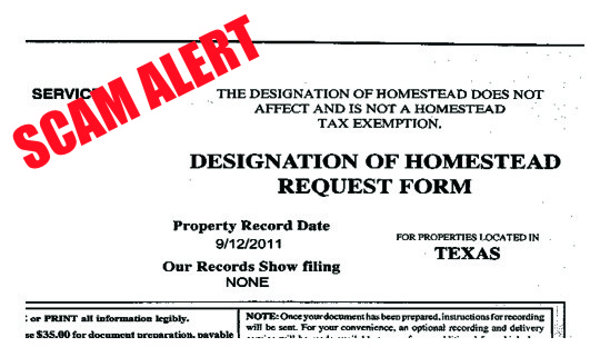 HOUSE BUYERS & SELLERS: Homestead Exemption Scams