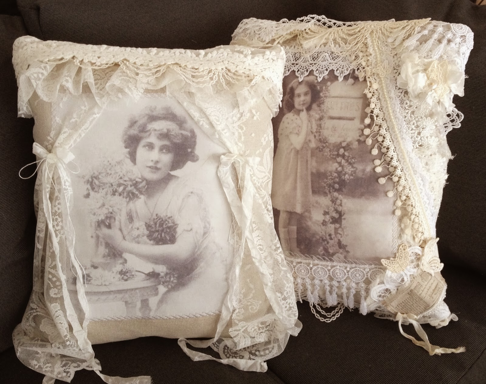 annes papercreations: Two more Shabby Chic pillows for my garden room