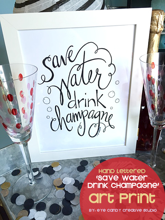 bar cart art, champagne glasses, confetti, bar art print, party art, cocktail