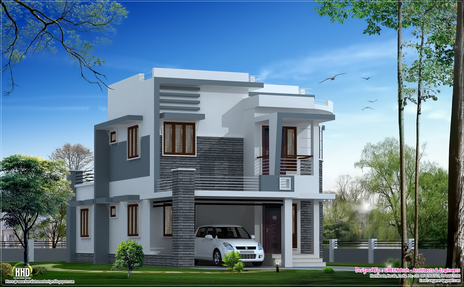 Beautiful 1650 modern home design kerala home Villa designs india