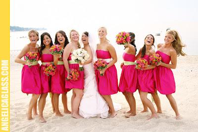 pink beach wedding bridesmaid dresses ~ New Bridesmaids Hairstyle