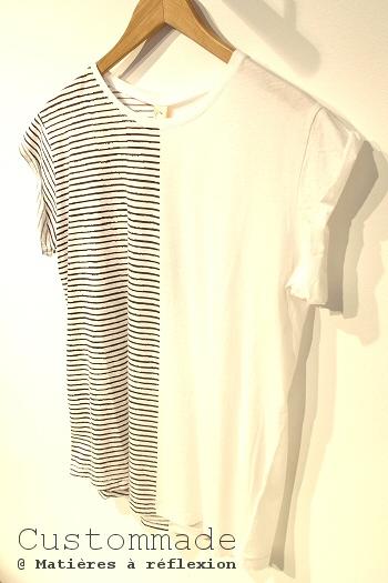 T-shirt rayé Custommade Connie asymétrique