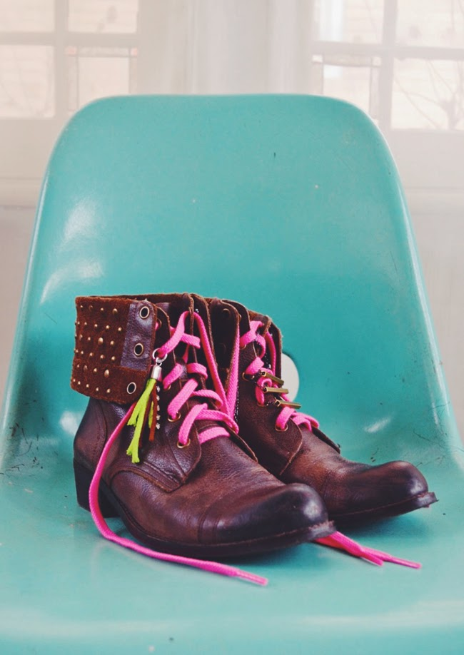 DIY ankle boot makeover - neon laces and jewelry