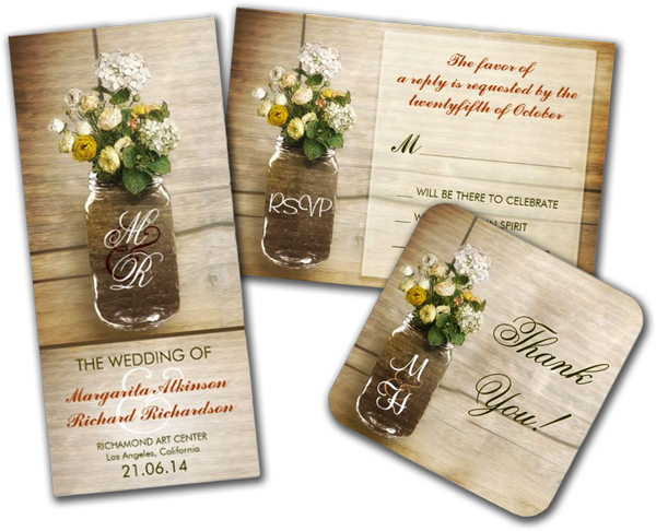 Mason Jar With Flowers Rustic Wedding Invitation