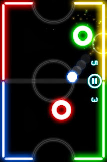 Glow Hockey APK hitting the ball