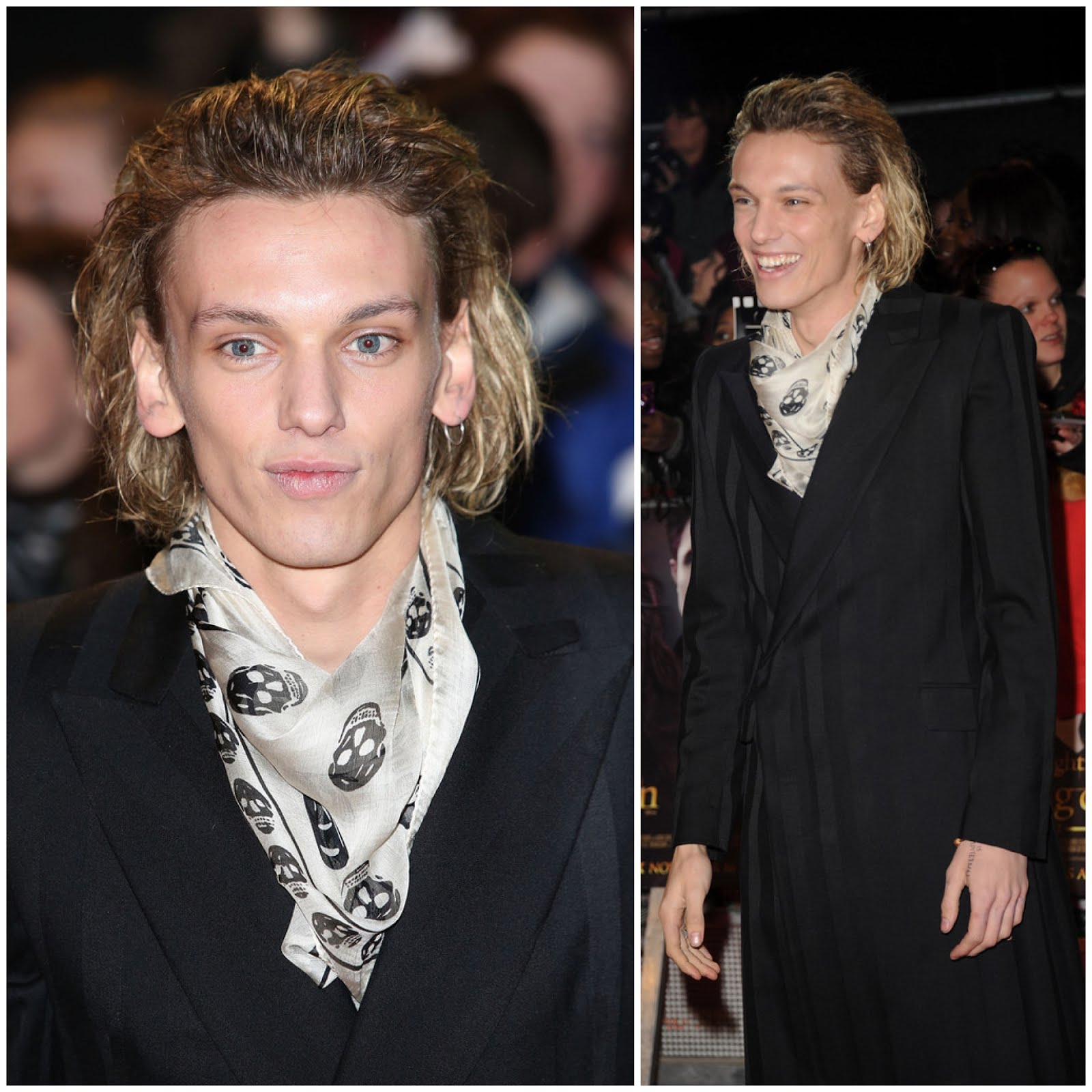 00O00 London Menswear Blog Celebrity Style Jamie Campbell Bower attends the UK Premiere of 'The Twilight Saga: Breaking Dawn - Part 2 at Odeon Leicester Square London Alexander McQueen coat, skull print silk scarf, shoes