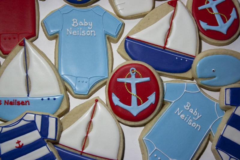 nautical baby cookies