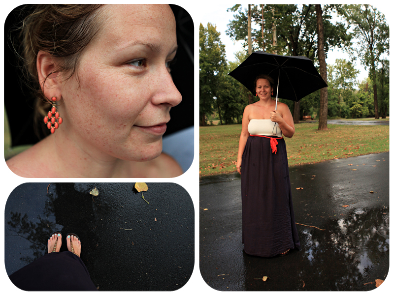 blue and white dress, strapless maxi dress, coral earrings, rain, umbrella, maxi dress, belted dress, leather and gold sandals, pictures in the rain