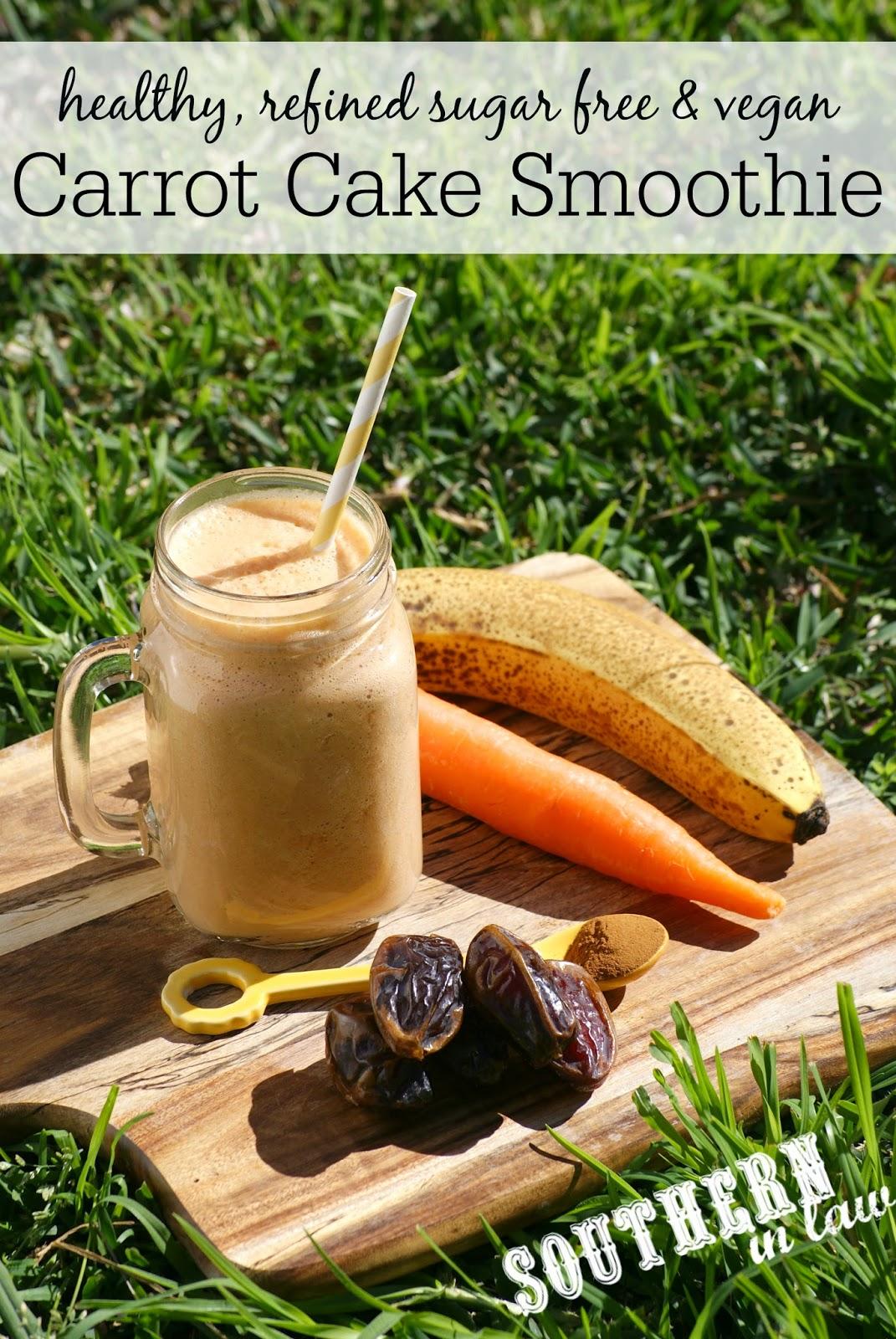 Vegan Carrot Cake Smoothie Recipe - low fat, gluten free, vegan, sugar free, paleo
