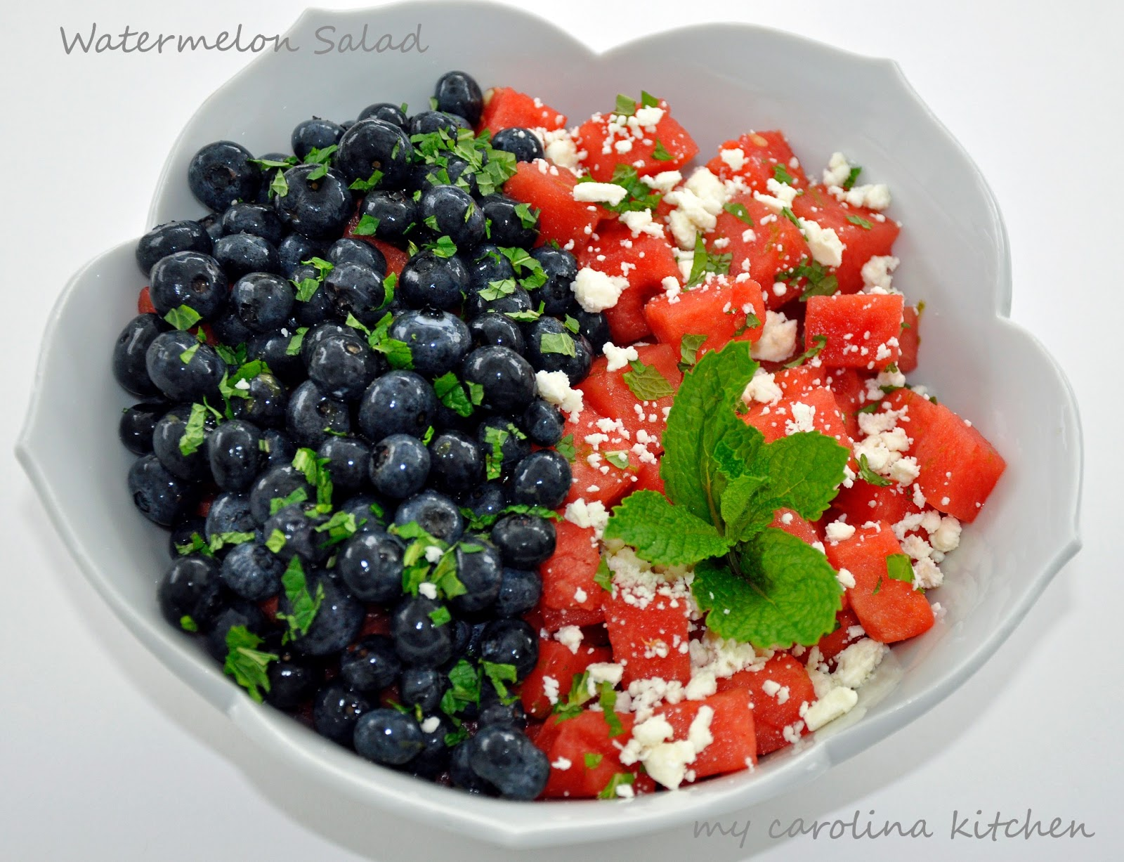 My Carolina Kitchen: Red, White, and Blue Watermelon Salad