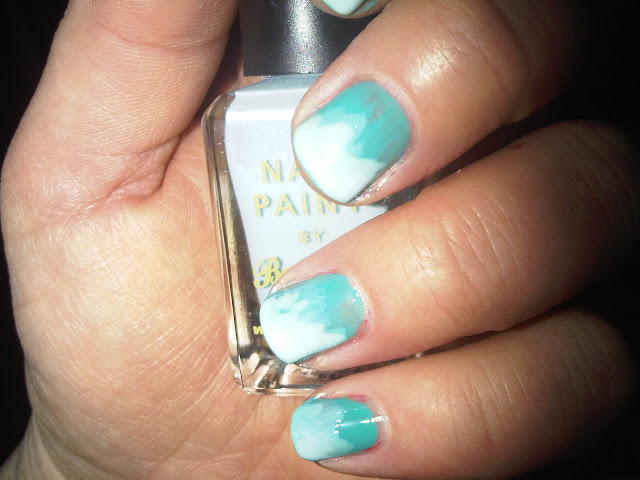 Half the Nail Painted With Barry M Blue Moon