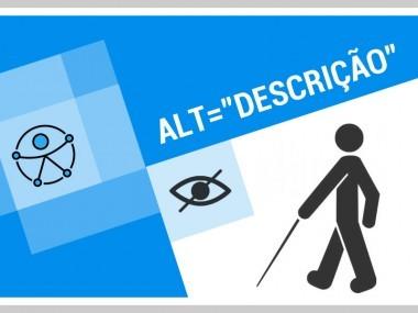Como descrever imagens: composição com diversos desenhos ilustrativos,incluindo uma pessoa cega e um olho, dispostos em quadrados de diferentes tamanhos
