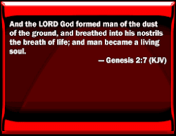 Genesis 2:7 - aw - dawm 'formed' into the earth
