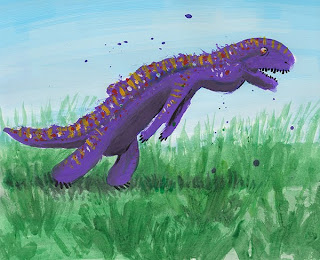 Danny Moore Illustration Painting of a Dinosaur Newt