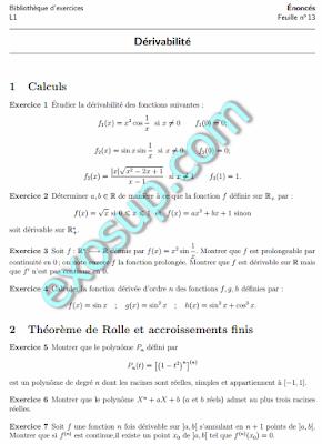 Exercices corrigés Dérivabilité Théorème de rolle et Accroissements Finis analyse 1