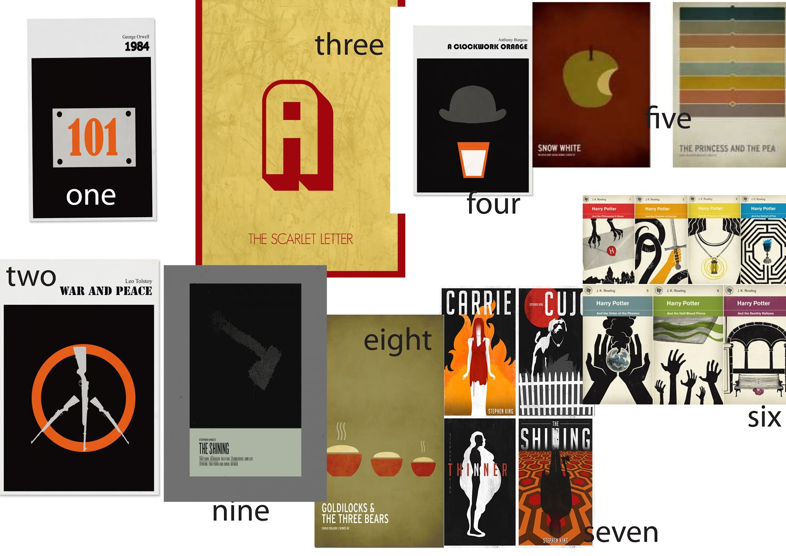 Chinello ogbuagu graphics minimalist moodboard one 1984 book cover of room 101 two war and peace cover depicting of peace symbol made with guns three the scarlet letter book cover of a scarlet madrichimfo Images