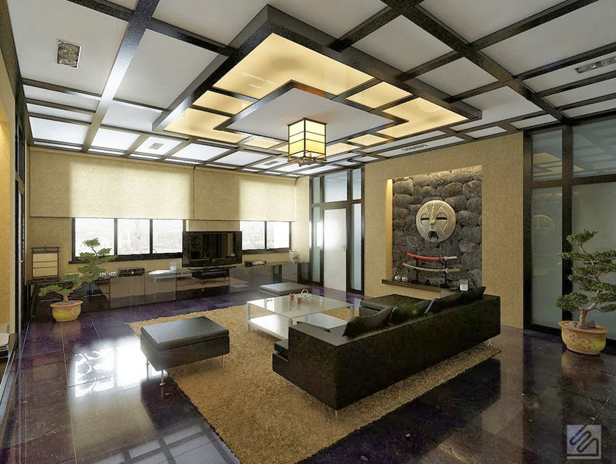 10 false ceiling designs in japanese style for Oriental furniture living room