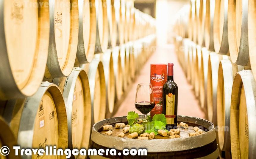 Wine bottles shot at Four Seasons Vineyard in Baramati, Maharashtra, India