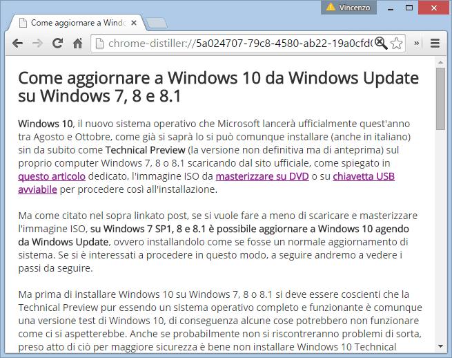 Pagina internet convertita in modalità reader su Chrome Desktop