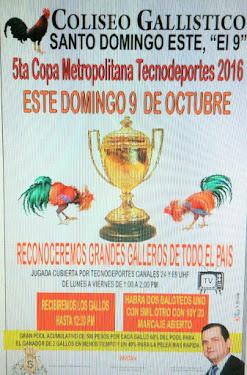 Gran Torneo 5ta, Copa Metropolitana TECNODEPORTES 2016 - Domingo 9 de Octubre-Coliseo Sto.Dgo-Este