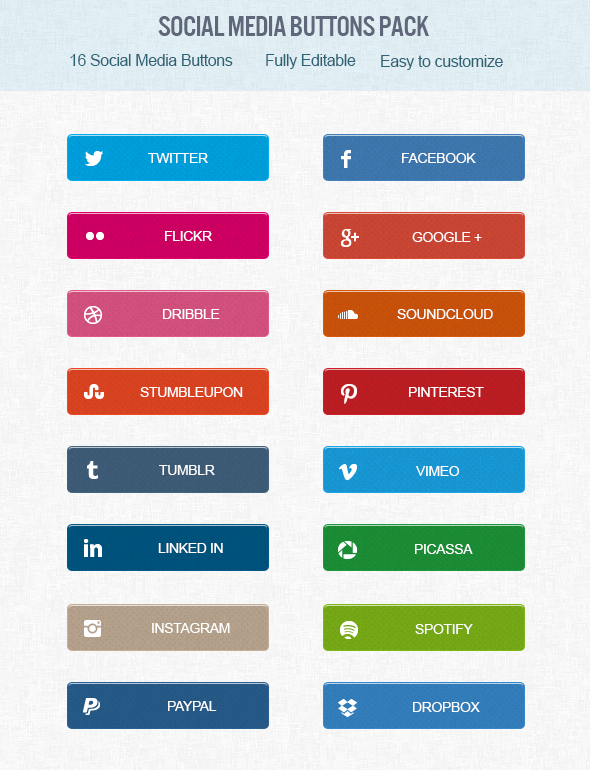 Free Social Media Buttons PSD
