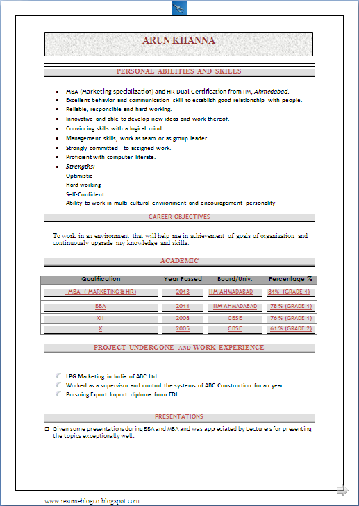 RESUME BLOG CO: Beautiful Resume template of a Fresher MBA (Master ...