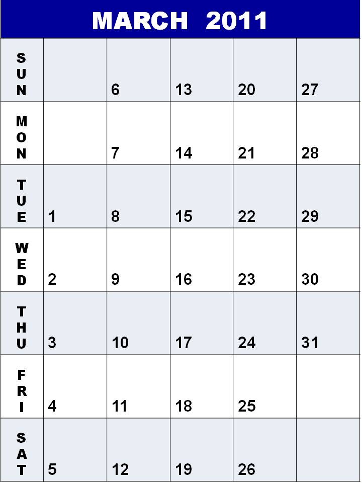 blank calendars 2011 march. Blank Calendar 2011 March or