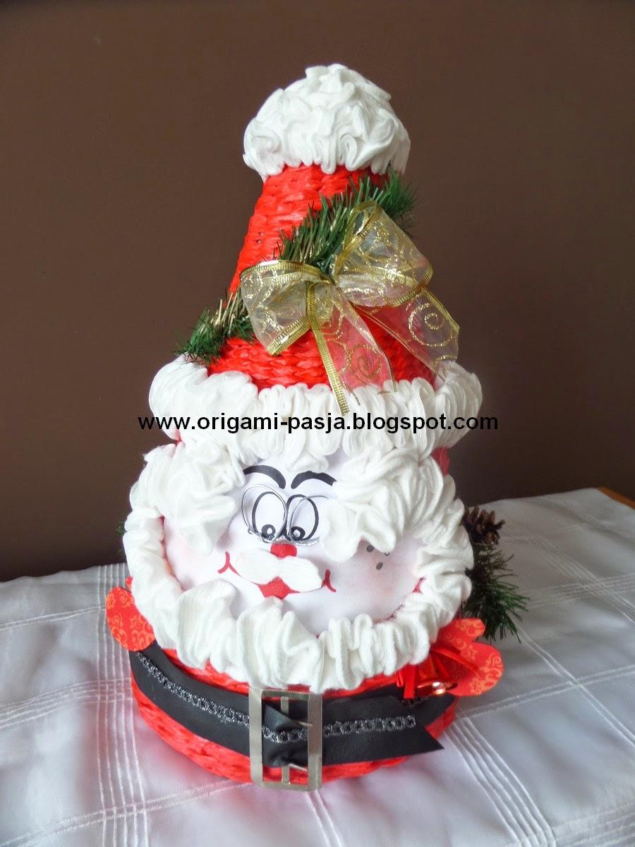 Mikołaj-kosz papierowa wiklina