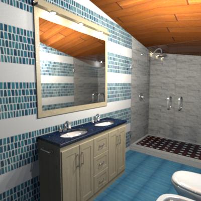 L'arredo bagno in rovere e il top in quarzo blu arredano un piccolo bagno come una spa
