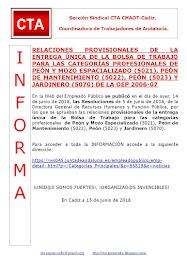 RELACIONES PROVISIONALES DE LA ENTREGA ÚNICA DE LA BOLSA DE TRABAJO PARA LAS CATEGORÍAS PROFESIONAL