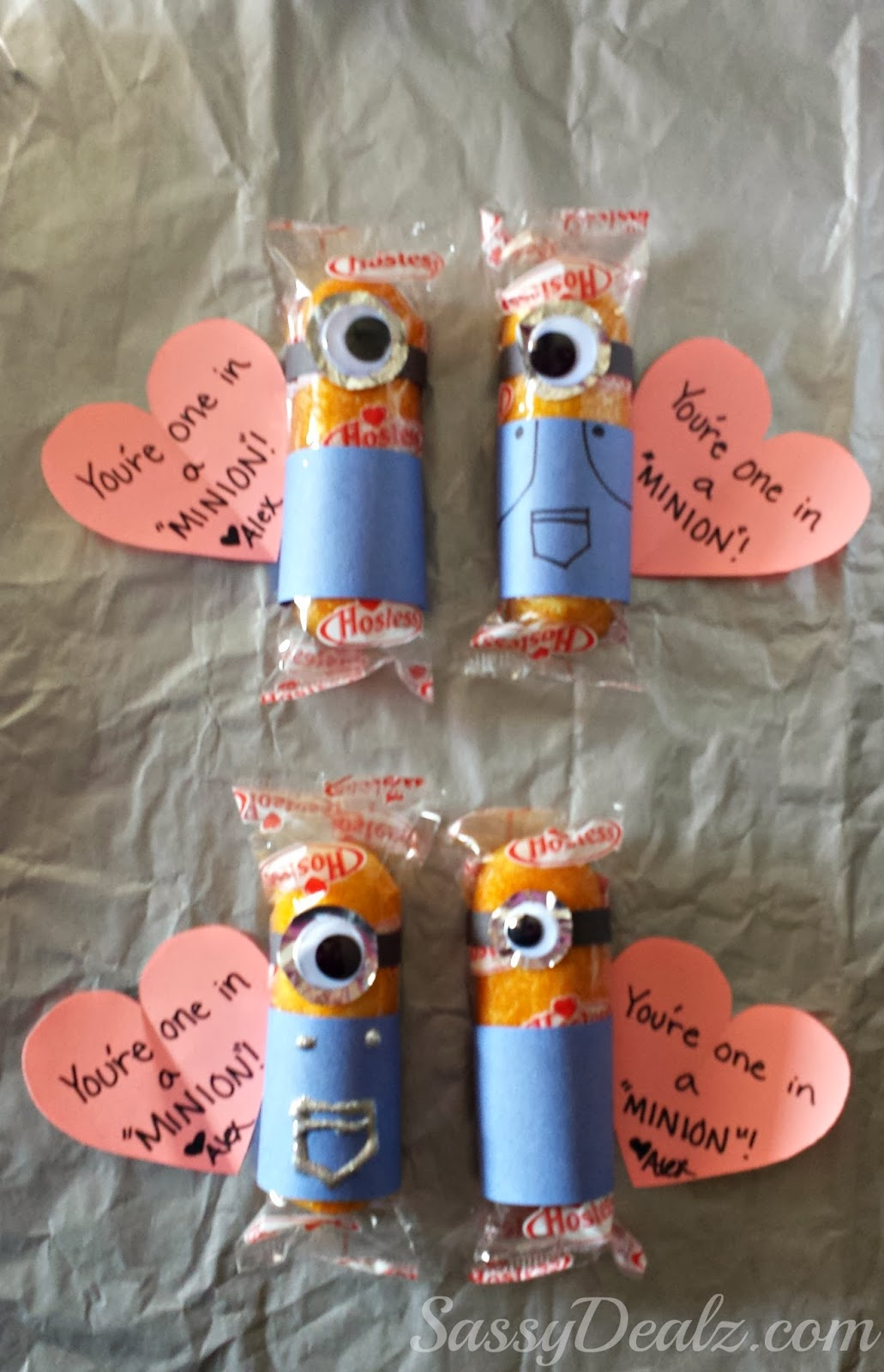 valentines day twinkie minion treats