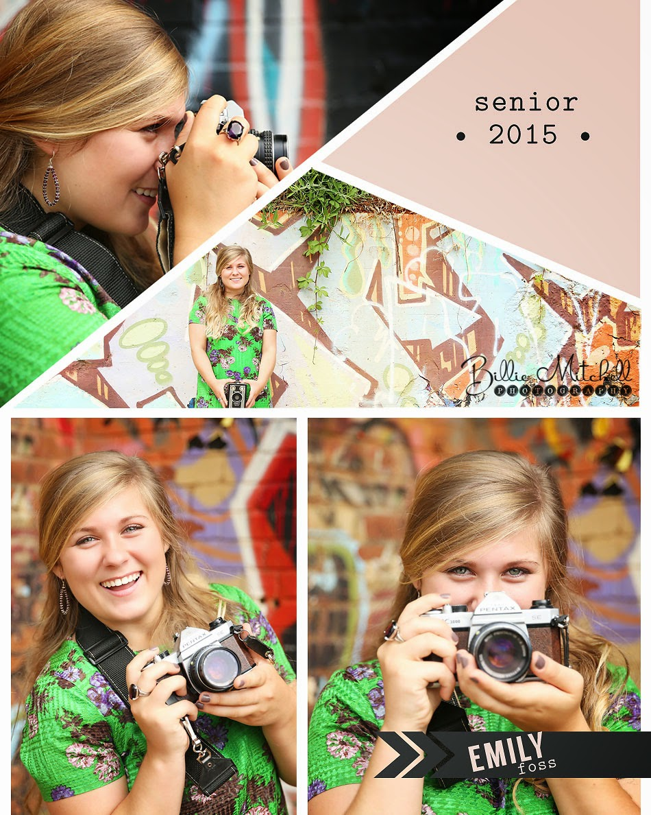 blonde teen girl in green dress holding vintage camera in front of graffiti wall