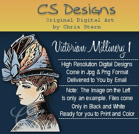 Victorian Millinery Vintage Digital Stamp Design